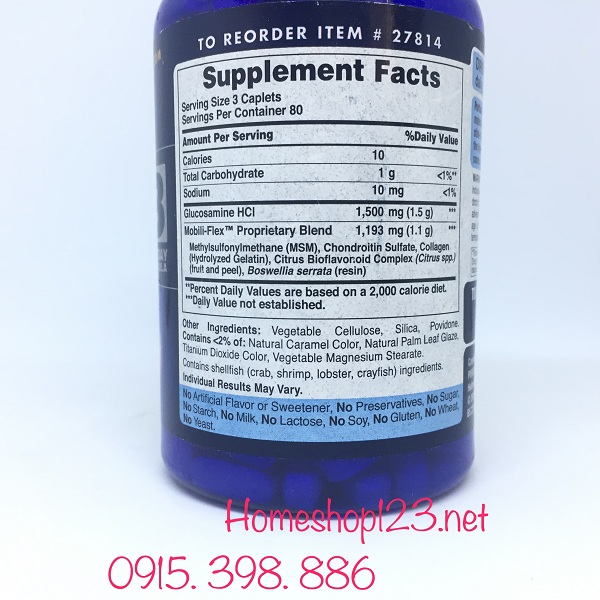 thành phần Double Strength Glucosamine Chondroitin MSM 3 per day formula