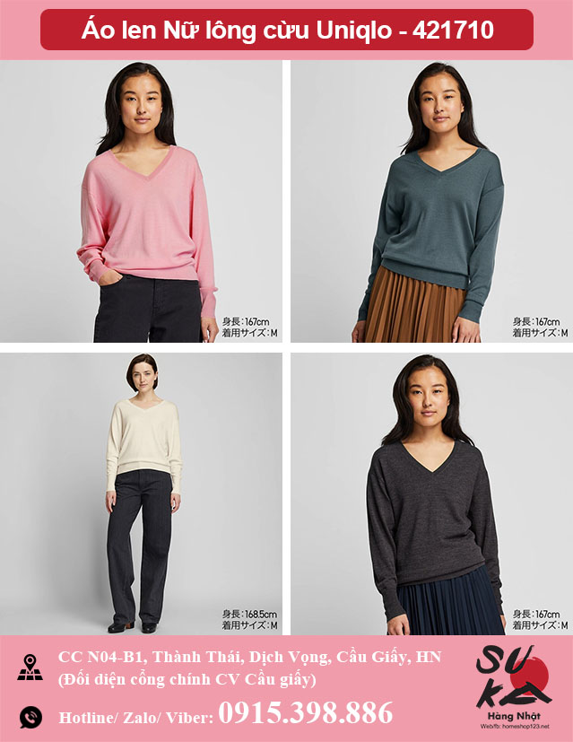 Áo len Nữ lông cừu 100% Uniqlo