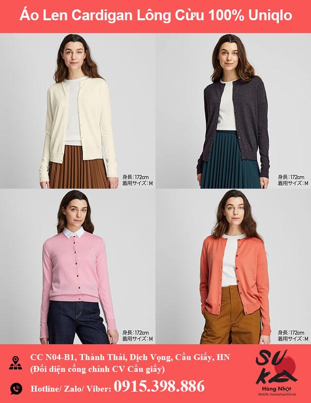 Áo len Nữ Cardigan lông cừu 100% Uniqlo