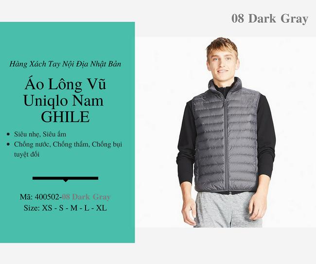 áo lông vũ nam ghile uniqlo màu ghi 400502