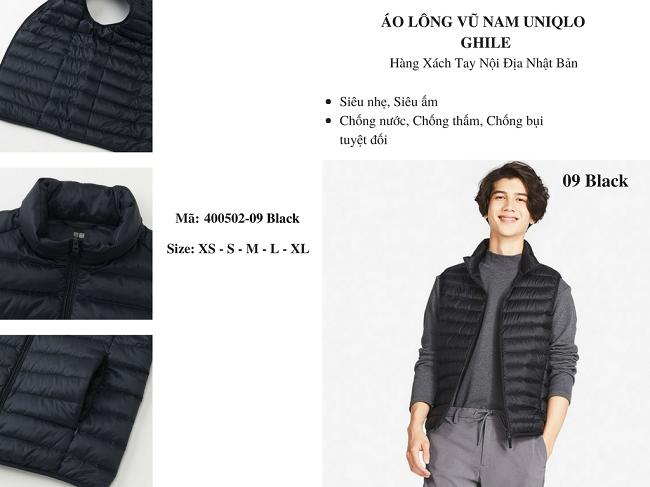 áo lông vũ nam ghile uniqlo màu đen 400502