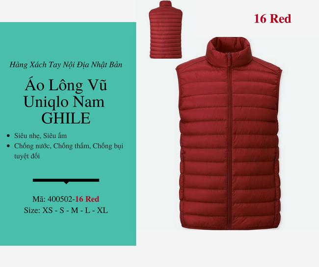 áo lông vũ nam ghile uniqlo màu đỏ 400502