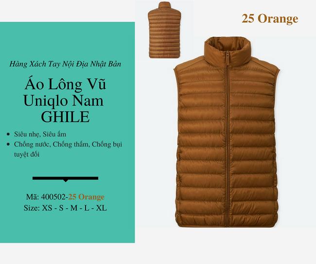 áo lông vũ nam ghile uniqlo màu nâu vàng 400502