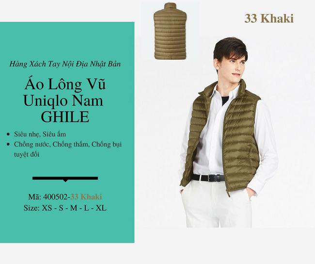 áo lông vũ nam ghile uniqlo màu khaki 400502