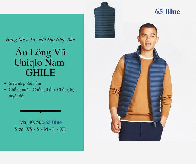 áo lông vũ nam ghile uniqlo màu xanh 400502