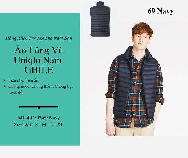 áo lông vũ nam ghile uniqlo màu navy 400502