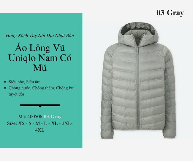 áo lông vũ nam uniqlo có mũ màu gray 400506