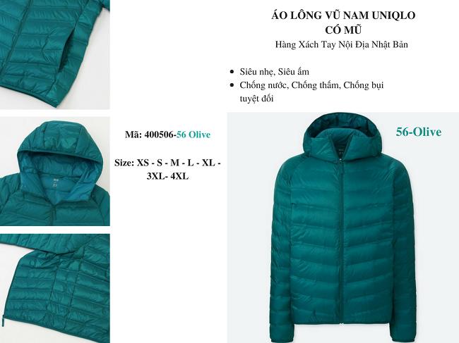 áo lông vũ nam uniqlo có mũ màu xanh olive 400506