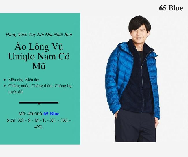 áo lông vũ nam uniqlo có mũ màu xanh 400506
