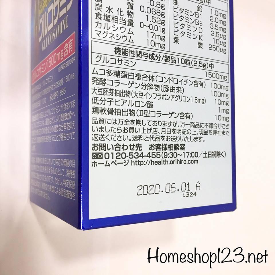 thành phần Glucosamin 1500mg Orihiro nhật bản 900 viên